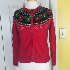 Sweaters - Poinsettia Ugly Christmas zip up cardigan